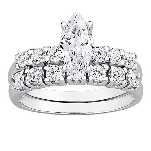 Sterling Silver Marquise Cut Cubic Zirconia Bridal Set