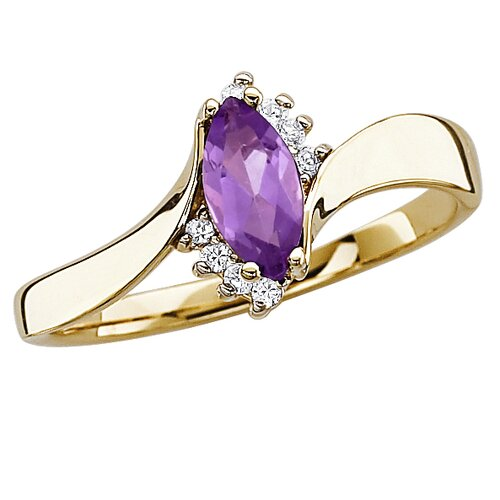 Gold Plated Marquise Cut Amethyst Ring