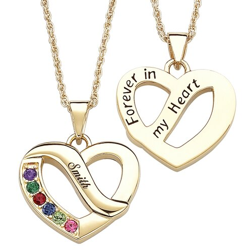 Remy and Rose Gold Plated Family Name & Birthstone Heart Necklace - 6 Stones