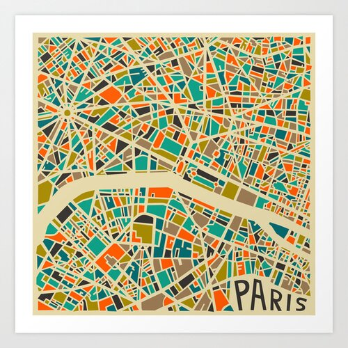 'Retro City Map Paris' by Jazzberry Blue Graphic Art on Canvas