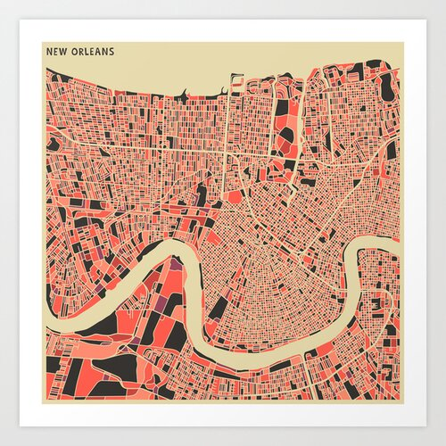 'Retro City Map New Orleans' by Jazzberry Blue Graphic Art on Canvas
