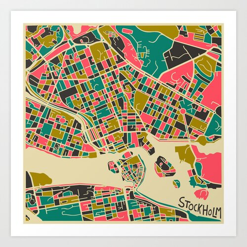 'Retro City Map Stockholm' by Jazzberry Blue Graphic Art on Canvas