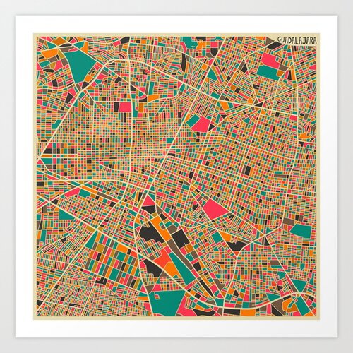'Retro City Map Guadalajara' by Jazzberry Blue Graphic Art on Canvas