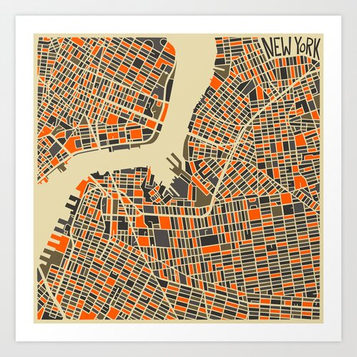 'Retro City Map Brooklyn' by Jazzberry Blue Graphic Art on Canvas