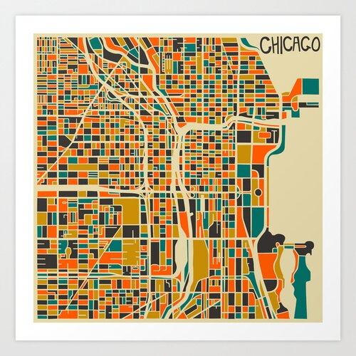 'Retro City Map Chicago' by Jazzberry Blue Graphic Art on Canvas