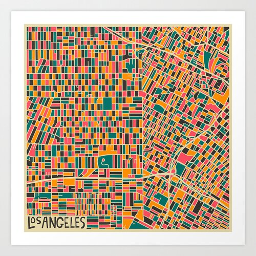 'Retro City Map LA' by Jazzberry Blue Graphic Art on Canvas
