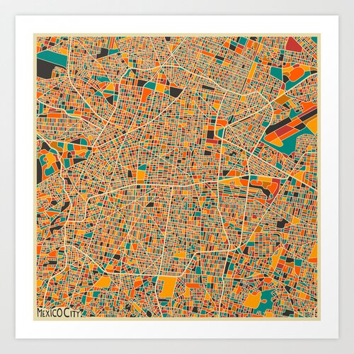 'Retro City Map Mexico City' by Jazzberry Blue Graphic Art on Canvas