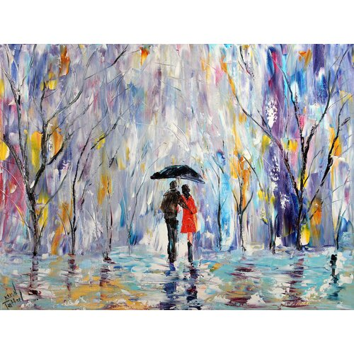 'Winter Rain Romance' by Karen Tarlton Painting Print on Canvas