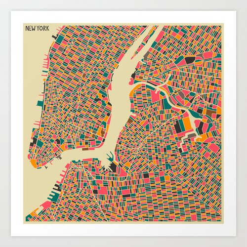 'Retro City Map New York' by Jazzberry Blue Graphic Art on Canvas
