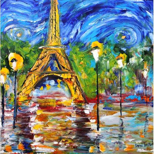 'Paris Night' by Karen Tarlton Painting Print on Canvas
