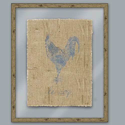 Epic Art Blue Rooster Framed Graphic Art