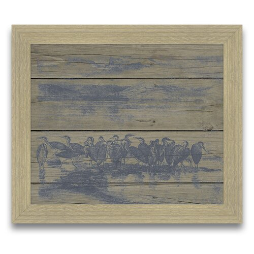 Herons on Wood Planks Framed Painting Print