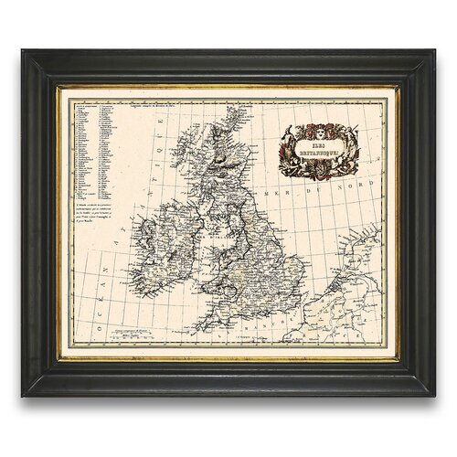 Tour d'Europa Britannique Map Framed Graphic Art