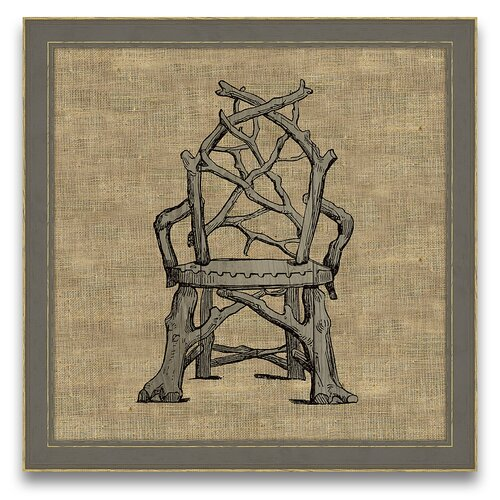 Antique Elements Fois Bois Garden Chair Framed Graphic Art