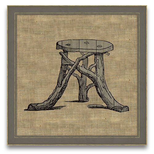 Antique Elements Fois Bois Garden Seat Framed Graphic Art