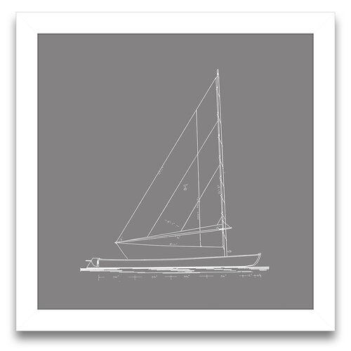 Epic Art Sail Away Sailboat Blueprint II Framed Graphic Art
