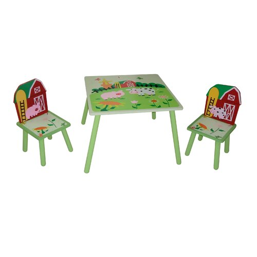 Slight Edge Farm Kids 3 Piece Table and Chair Set