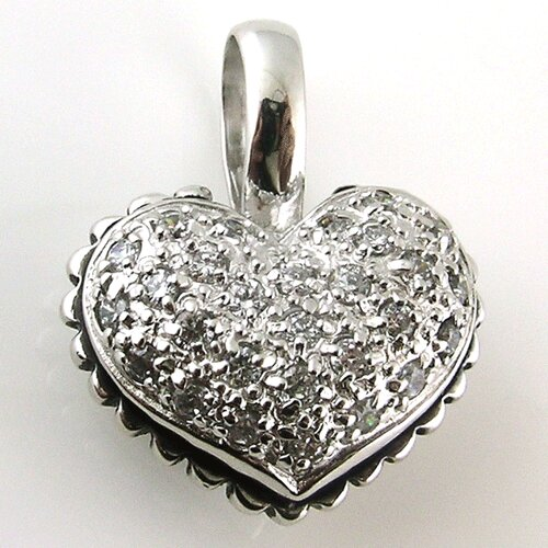 Splendor Jewelry Sterling Silver Double Side Puff Heart Cubic Zirconia Necklace