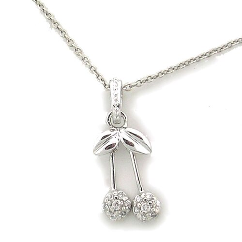 Splendor Jewelry Sterling Silver Double Cherry Cubic Zirconia Necklace
