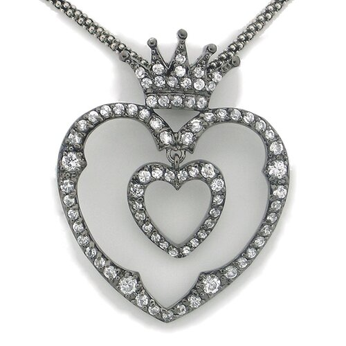 Sterling Silver Double Heart and Crown Cubic Zirconia Necklace