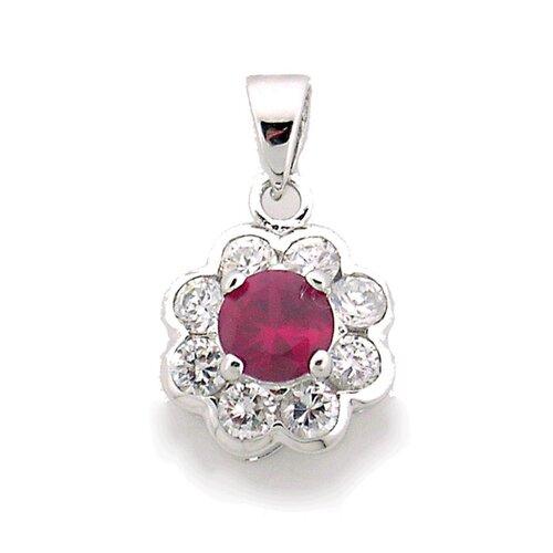 Splendor Jewelry Sterling Silver Flower Gemstone Necklace