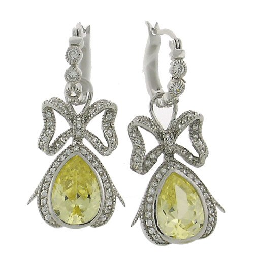Canary Bow Cubic Zirconia Convertible Teardrop Earrings