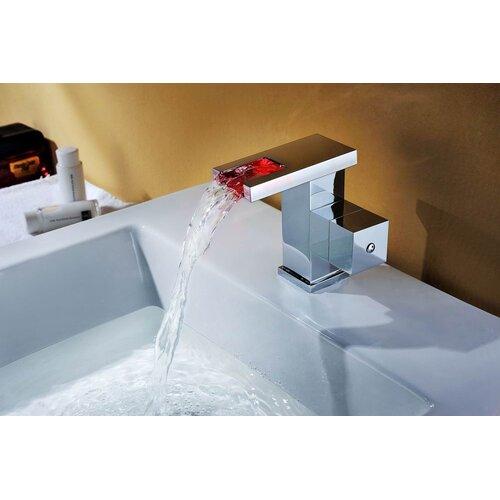 Sumerain International Group Single Handle Deck Mount LED Waterfall Bathroom Sink Faucet
