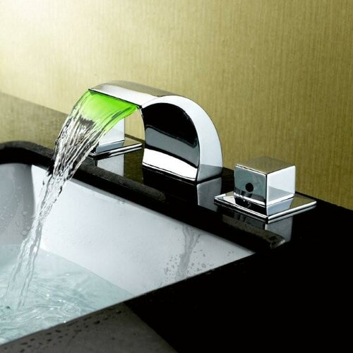 Bathroom Sink With Two Faucets : Sumerain Double Handle Widespread LED Waterfall Bathroom Sink Faucet ...