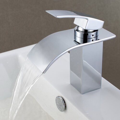 Single Handle Waterfall Bathroom Faucet : Sumerain Single Handle Deck Mount Waterfall Bathroom Sink Faucet with ...