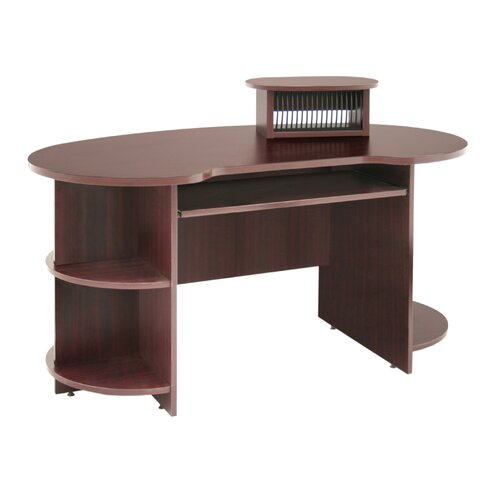 "Regency Laminate Kidney Shaped Computer Desk with CD, DVD and 24"" x 48"" Message Storage"