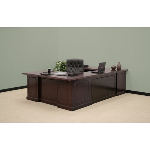 "Regency Prestige Traditional Veneer Executive Double Pedestal ""U"" Desk"