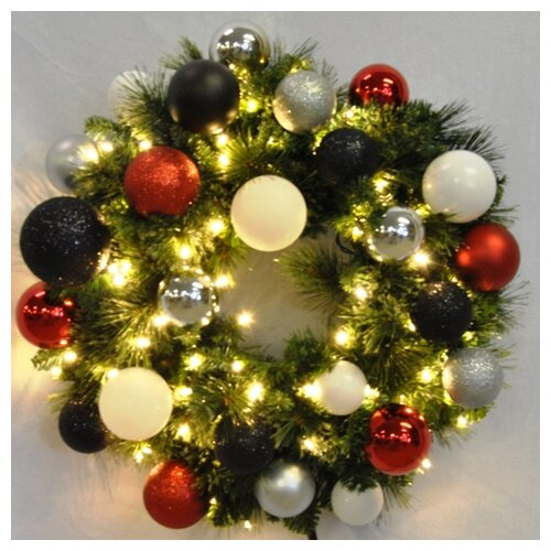 Pre-Lit Blended Pine Wreath Decorated with Modern Ornament