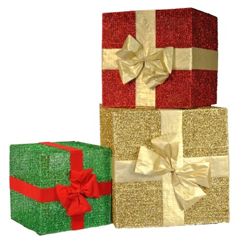 Queens of Christmas Glitter Gift Box with Bow Christmas Decoration