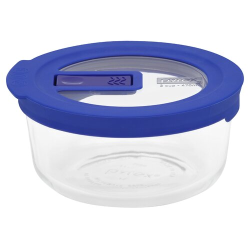 2 Cup Pyrex No Leak Lids Round Container with Plastic Lid