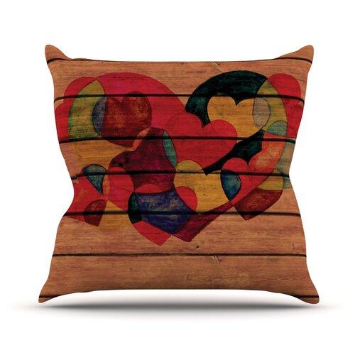 Wooden Heart Throw Pillow