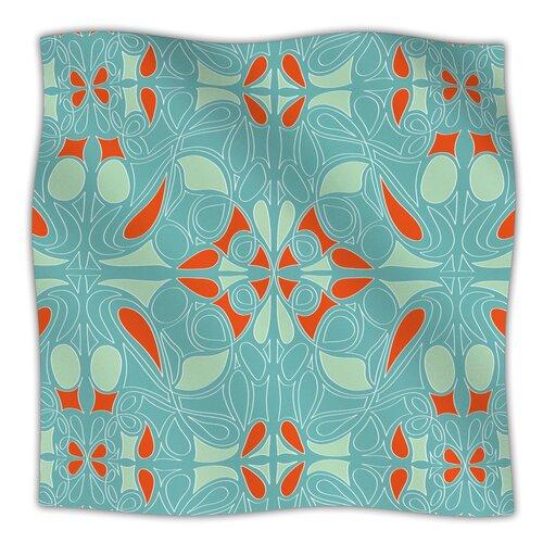 Seafoam and Orange Microfiber Fleece Throw Blanket