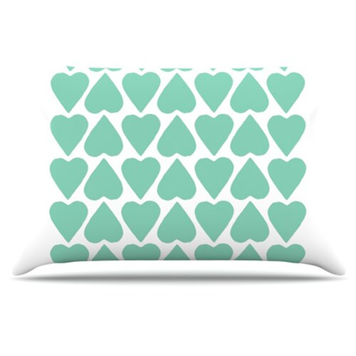 KESS InHouse Up and Down Hearts Pillowcase