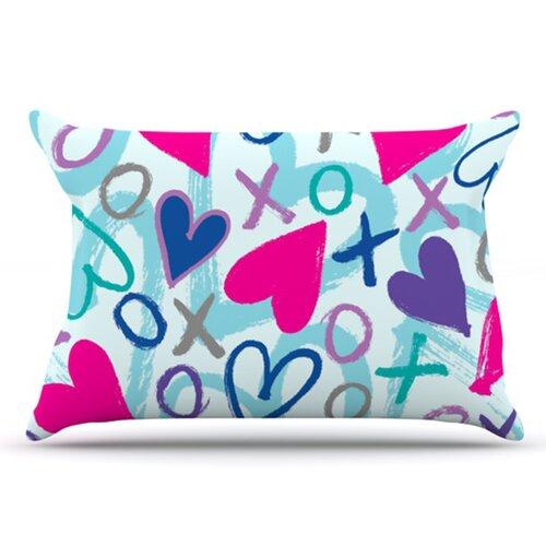 KESS InHouse Hearts A Flutter Pillowcase
