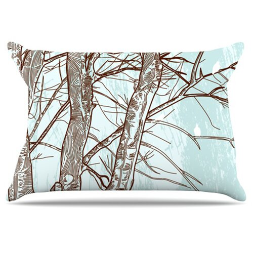 KESS InHouse Winter Trees Pillowcase