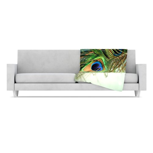 KESS InHouse Peacock Feather Fleece Throw Blanket