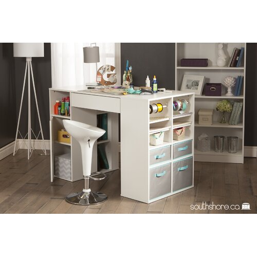 Crea counter height craft table wayfair supply for Counter height craft table with storage