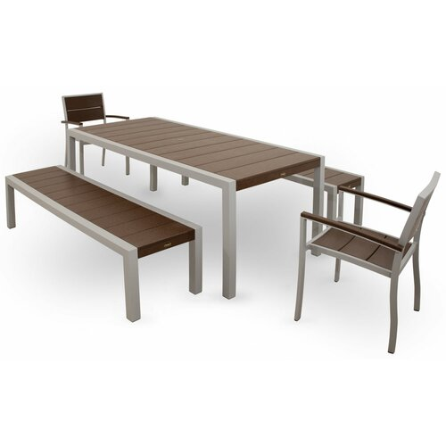 Trex Outdoor Trex Outdoor Surf City 5 Piece Bench Dining Set