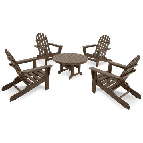 Ivy Terrace Classics 5 Piece Folding Adirondack Seating Group