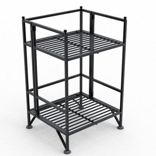 Convenience Concepts XTRA Storage 2 Tier Folding Shelf in Black