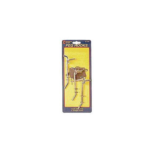 "Convenience Concepts 8"" Heavy Duty Straight Single Pegboard Hooks"