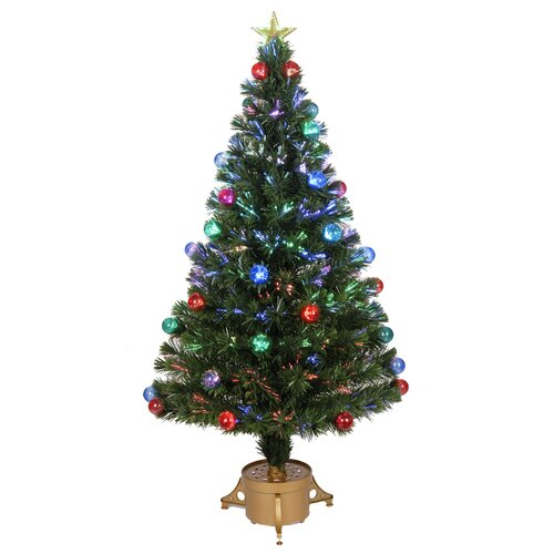 Fiber Optic 4' Green Artificial Christmas Tree with LED Muticolor Light with Ornaments and ...