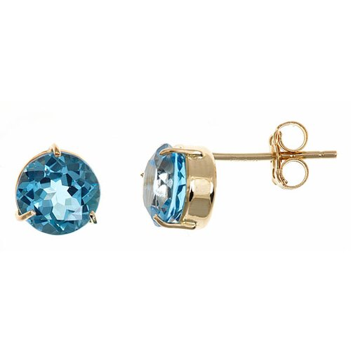 Round Cut Topaz Stud Earrings