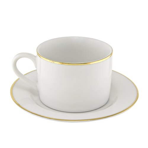 Ten Strawberry Street Gold Line 6 oz. Teacup and Saucer