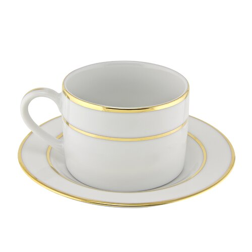 Ten Strawberry Street Double Gold Line 6 oz. Teacup and Saucer