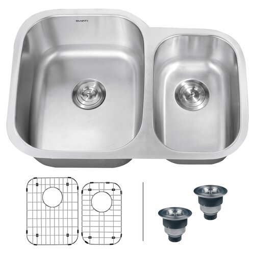 "Ruvati Parmi 29.5"" x 21"" Undermount Double Bowl Kitchen Sink"